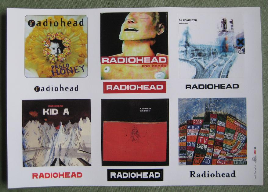 Sheet Of Radiohead Stickers