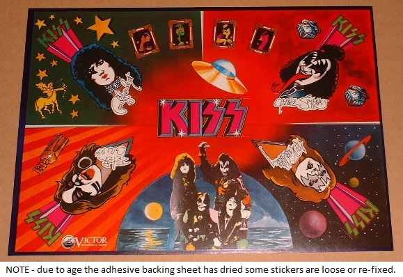 Sheet Of Kiss 1977 Stickers